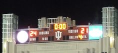 Nov. 3, 2012. The scoreboard says it all as the IU football team capped a busy sports weekend with a victory over Iowa. The win gave the Hoosiers their first two-game Big Ten winning streak in five years and kept alive our hopes for a bowl game. Photo by Karen Land.