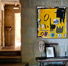 JEAN-MICHEL BASQUIAT, Untitled, c.1985. Material acrylic, spray paint, oilstick and Xerox collage on canvas. Interior of the home of Ellen DeGeneres, Los Angeles, USA. / Hand Luggage Only