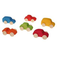 Grimm's Rainbow Colored Wooden Toy Cars