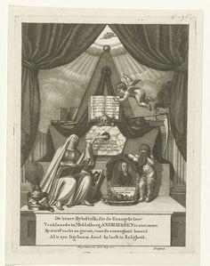 George Kockers   Allegorische compositie op de dood van predikant Andreas Andriessen, George Kockers, 1801   Allegorische compositie op de dood van Andreas Andriessen, predikant en hoogleraar te Middelburg. Rechts op het grafmonument is zijn portret in een ovale omlijsting weergegeven, geflankeerd door een huilend kind en een biddende Maria met een bijbel en een kruis op haar schoot. Op het monument liggen onder andere boeken, een schedel, een zandloper een zeis. Onder de afbeelding een…