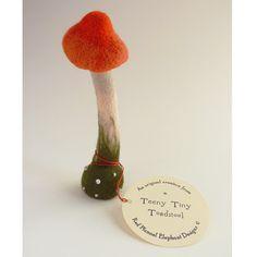 Teeny Tiny needle felted toadstool by redflannelelephant on Etsy