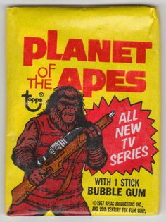 For sale topps 1975 planet of the apes trading cards unopened wax packs roddy mcdowall ron harper james naughton mark lenard nonsport cards emorys memories. Retro Toys, Vintage Toys, Buble Gum, 60s Films, Cosmic Comics, New Tv Series, Collector Cards, Vintage Candy, Planet Of The Apes