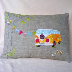 Campervan Cushion Cover Home is wherever you want it to be in this sweet retro camper-van. Perfect to decorate your home from home this linen cushion is backed with striped canvas, appliquéd in bright coloured cotton fabrics and free machine embroi. Applique Cushions, Cute Cushions, Sewing Pillows, Fabric Crafts, Sewing Crafts, Sewing Projects, Free Motion Embroidery, Machine Embroidery, Textiles
