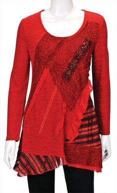 Smart red burgundy tunic with lace & patchwork detail. It has kilt like patchwork pattern with black stripes    - Long sleeves  - Scoopneck  - Lace detail  - Uneven hem  - Stretch fabric - polyester+cotton+elastane  - Diamante & beads detail     Length    Size 12 =