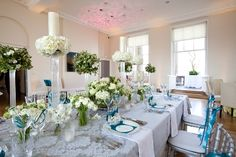white and blues on a long table