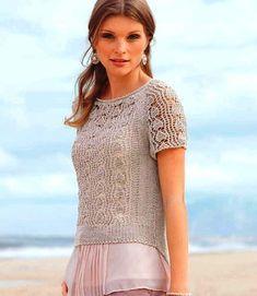 Пуловер с ажурными рукавами - Вязание спицами - Страна Мам