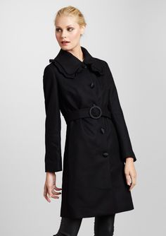 Love Moschino | Coat with oversized ruffle trim and waist tie