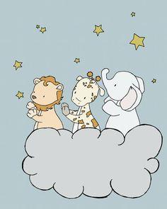 Star Nursery Art  Safari Star Cloud  Nursery by SweetMelodyDesigns