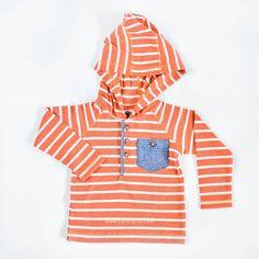 Lance Thermal Hoodie in Pumpkin Stripe