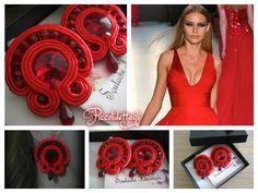 Total Red Orecchini Soutache con cristalli swarovski