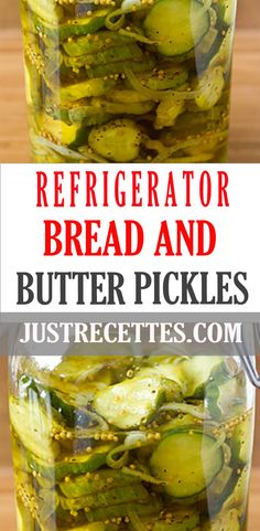 This easy bread and butter pickles recipe required no canning! Made with a homemade brine, it is simple to prepare and so delicious. via @justrecettes Bread N Butter Pickle Recipe, Bread & Butter Pickles, Side Dish Recipes, Great Recipes, Favorite Recipes, Pickles Recipe, Homemade Pickles, Icebox Pickles, Easy Bread