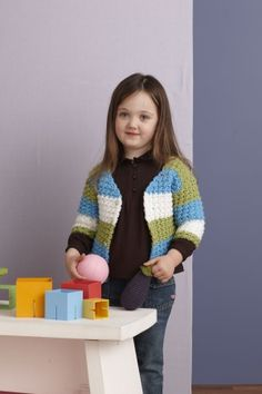 Cute!! Free Crochet Pattern: Stripe Collage Cardi; Lion Brand® Vanna's Choice® Baby  Pattern #: 90522AD