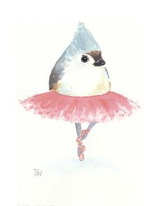 Original Bird Watercolor - Bird Illustration, Tufted Titmouse, Ballet    When you dance, your purpose is not to get to a certain place on the