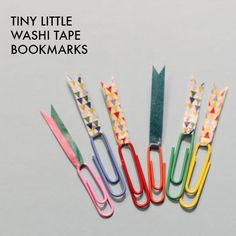 totally using these in my bullet journal! washi tape paper clip bookmarks.
