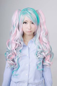 Light Blue and Pink Cosplay Wig Cosplay Wigs, Cosplay Costumes, Lolita Cosplay, Curls, Light Blue, Pink, Hot Pink, Pink Hair, Loki