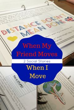 Social Story: Moving is an emotional process. When someone you love moves away or you must move away from someone you love, it hurts. It's a time full of emotional highs and lows. This unit is designed to help a child work through the grief process that is accompanied by a huge transition and realize that distance doesn't mean the friendship has to be done. All Schools, Elementary Schools, Behavior Management, Classroom Management, Character Education, Social Stories, Working With Children, Emotional Intelligence, School Counseling