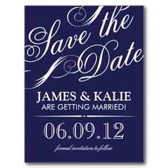 SAVE THE DATE | NAVY BLUE & GRAY POST CARD