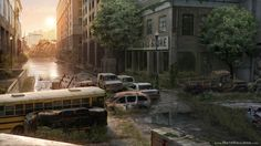 Post Apocalyptic City Environment by NateHallinanArt.deviantart.com on @deviantART -- like if this were on the outer edge of the city, so it wasnt totally destroyed but still deserted...