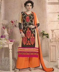 Buy Fascinating Black And Beige Designer Salwar Kameez online at  https://www.a1designerwear.com/fascinating-black-and-beige-designer-salwar-kameez  Price: $32.75 USD