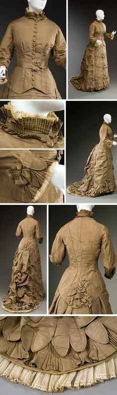 Wedding dress, American, ca. 1879. Light brown silk taffeta, light blue plain weave silk facing on bows and pleated belt, brown cotton lining, machine Mechlin lace, baleen. Two pieces: long basque bodice and trained skirt with low, bustled back drape. Historic Deerfield