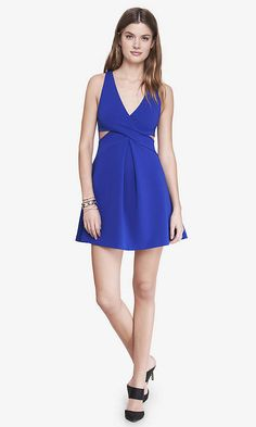 Blue Crisscross Cutout Fit And Flare Dress | Express