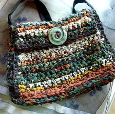 Sharilyn Miller: Crocheted Bag: Recycled T-Shirts & Plastic Bags!