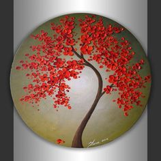 Small Wall Art Original Painting Abstract Landscape Birch Tree Painting Acrylic Painting Canvas Art Gift For Couple Oval Canvas Original Abstract Landscape Heavy Impasto Textured Art Red Blossom Tree Painting Modern Acrylic Artwork By Zarasshop Acrylic Artwork, Dot Art Painting, Pebble Painting, Acrylic Painting Canvas, Stone Painting, Canvas Art, Painting Abstract, Project Abstract, Canvas Ideas