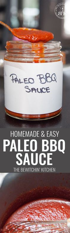 Homemade Paleo BBQ Sauce - this super easy bbq sauce recipe is perfect. Add it to all of your paleo recipes. Tastes great with chicken, turkey and beef. Sure to be a summer bbq recipe favourite.   The Bewitchin' Kitchen