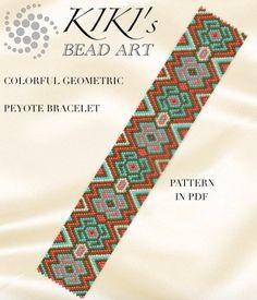 Pattern, peyote bracelet - Colorful geometric peyote bracelet pattern PDF instant download