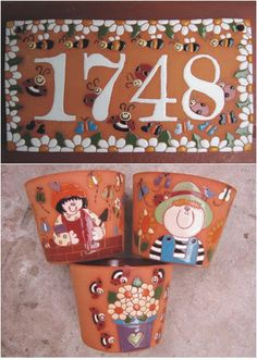 Resultado de imagem para ceramica artesanal logotipo Slab Pottery, Ceramic Pottery, Clay Projects, Projects To Try, Clay Tiles, Address Plaque, Air Dry Clay, House Numbers, Tile Art