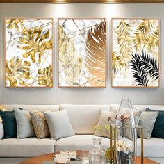Online Shop Nordic plants Golden leaf canvas painting posters and print wall art pictures for living room bedroom dinning room modern decor Gold Leaf Art, Leaf Wall Art, Abstract Wall Art, Wall Art Decor, Abstract Print, Abstract Posters, Gold Wall Decor, Green Wall Art, Seascape Art