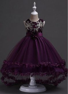 Lilybridalshop In Stock Marvelous Tulle & Satin Jewel Neckline Ball Gown Flower Girl Dress With Embroidery & Handmade Flowers Source by nikamaliq dress for kids Cute Girl Dresses, Little Girl Dresses, Pretty Dresses, Beautiful Dresses, Flower Girl Dresses, Purple Flower Girls, Kids Pageant Dresses, African Dresses For Kids, Organza