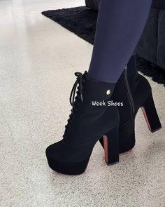 Meninas, olha que linda essa Ankle Boot 😍😍😍😍 Vem dar uma olhadinha no nosso site. 💕👢🥰 #weekshoes #saltoalto #shoes #calçados #sapatos #botas #ankleboots #meiapata #botapreta #temqueter #sapatosdesalto #tendência #fashionista #euquero #dicasdelook #cute #modafeminina #mulher #lookdodia High Shoes, High Heel Boots, Heeled Boots, Shoes Heels, Fashion Heels, Fashion Boots, Sneakers Fashion, Kawaii Shoes, Aesthetic Shoes
