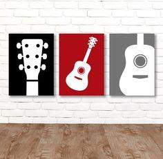 New Music Room Guitar Boy Bedrooms Ideas Guitar Nursery, Guitar Bedroom, Guitar Wall Art, Music Bedroom, Music Wall Art, Nursery Canvas, Guitar Painting, Music Theme Bedrooms, Guitar Boy