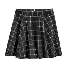 H&M Circle Skirt $7.99 ❤ liked on Polyvore featuring skirts, short skater skirt, skater skirt, h&m skirts, short flared skirt and checked skirt