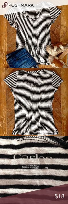 Caslon Black & White Striped Top Soft cotton black and white striped tee has a gently rounded neckline, short sleeves, and chest pocket. Worn once, great condition. Caslon Tops Tees - Short Sleeve