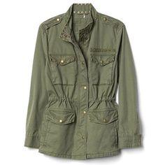 $128 BUY NOW  Want a classicutility jacket that also stands out?This one is made fromthetraditional khaki greencotton, but featuresstud trim along the collar and pockets for an added layer of edge.
