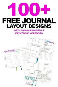 Over 100 free printable bullet journal or planner layout designs with measurements and PDF versions to try out yourself! . #bulletjournal #planning #planner #bujo #weeklyspread