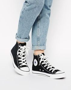 Converse+All+Star+High+Top+Black+Trainers size US 8