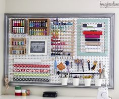 Pretty Pegboard Storage! • Ideas & Tutorials! Including this large framed pegboard project from 'honey bear lane'.