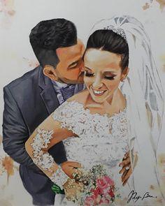 Depois de sumir por uns dias, voltando a atualizar as encomendas 🙌 Wedding Art, Fictional Characters, Tela, Drawings, Art, Paintings, Fantasy Characters