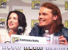 Highlander heaven!!! #Outlander #fangirlsSDCC Caitriona Balfe and Sam Heughan