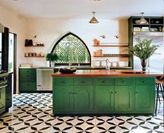 black and white tile, green cabinets - Google Search