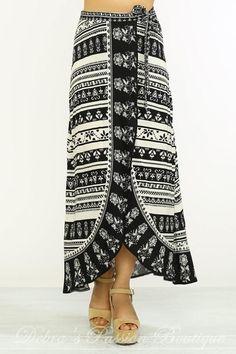 0ea56e9a92 Summer Pretty Maxi Wrap Skirt - Flying Tomato - Ivory Black