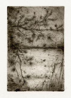 Bohuslav Reynek Pták s rybníčkem / Bird and the Lake suchá jehla / dry point 12,5 x 8,5 cm, 40. léta, otisk z původní desky, opus G 204