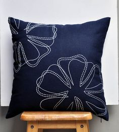 Navy Flower Pillow Cover Decorative Throw Pillow Cover от KainKain