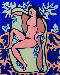 Femme-Feuille peinture acrylique et pigments impression par Ullice