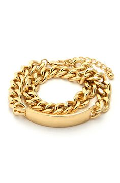 King Ice Gold Double Wrap I.D. Bracelet by King Ice