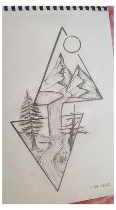 Art Drawings Beautiful, Dark Art Drawings, Art Drawings Sketches Simple, Doodle Art Drawing, Easy Sketches To Draw, Drawings In Pen, Pencil Sketches Of Nature, Easy Nature Drawings, Disney Drawings Sketches