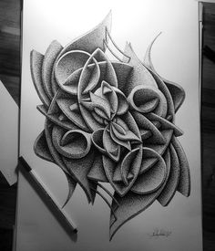 Complex Geometric shapes in Ink Stippling Drawings. By in_my_mind_art.